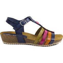 Rzymianki damskie: Skórzane sandały w kolorze granatowym ze wzorem