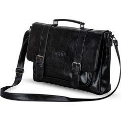 DOMINIC Męska torba na ramię VINTAGE Czarna. Czarne torby na ramię męskie Solier, w paski, z jeansu, na ramię. Za 179,00 zł.