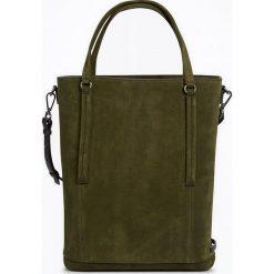 """Torebki i plecaki damskie: Skórzany shopper bag """"FortyFour"""" w kolorze zielonym – 38 x 40 x 12,5 cm"""
