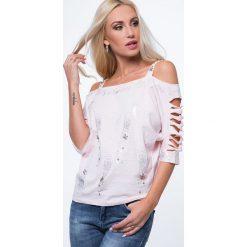 Bluzka poprzecinane rękawy jasnoróżowa ZZ1052. Białe bralety marki Fasardi, l. Za 63,20 zł.