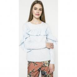 Vila - Bluzka Jenner. Szare bluzki z odkrytymi ramionami Vila, m, z bawełny, casualowe, z okrągłym kołnierzem. W wyprzedaży za 69,90 zł.
