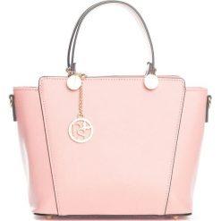 Torebki klasyczne damskie: Skórzana torebka w kolorze jasnoróżowym – 30 x 35 x 15 cm