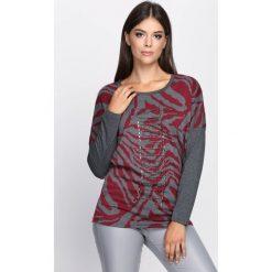 Bordowa Bluzka Seriously. Czerwone bluzki asymetryczne Born2be, l, z aplikacjami, z okrągłym kołnierzem, z długim rękawem. Za 49,99 zł.