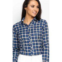 Niebieska Koszula Fine Check. Zielone koszule damskie w kratkę marki Mohito, l, z wykładanym kołnierzem. Za 79,99 zł.