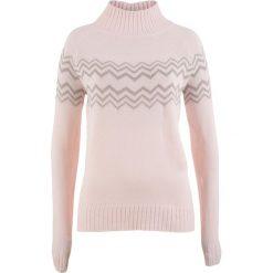 Swetry klasyczne damskie: Sweter bonprix perłowy jasnoróżowy – biel wełny