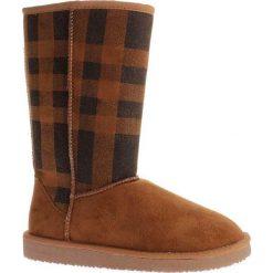 """Kozaki """"Melisa"""" w kolorze jasnobrązowo-czarnym. Czarne buty zimowe damskie marki Kazar, z futra, przed kolano, na wysokim obcasie, na koturnie. W wyprzedaży za 150,95 zł."""