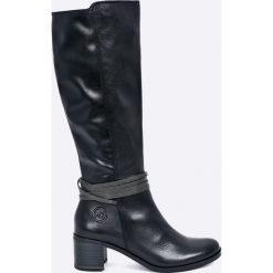 Marco Tozzi - Kozaki skórzane. Czarne buty zimowe damskie marki Marco Tozzi, z materiału, z okrągłym noskiem, na obcasie. W wyprzedaży za 269,90 zł.