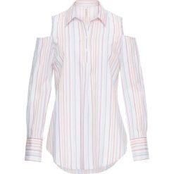 Długa tunika z wycięciami na ramionach bonprix biały w kolorowe paski. Białe tuniki damskie z długim rękawem bonprix, w kolorowe wzory. Za 34,99 zł.