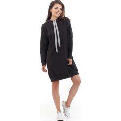 Bluzy rozpinane damskie: Czarna Długa Bluza Kangurka z Kapturem w Sportowym Stylu