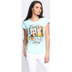 T-shirty damskie: Miętowy T-shirt Travel Story