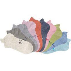 Skarpetki damskie: Skarpetki do sneakersów KangaROOS (10 par) bonprix niebieski dżins + pomarańczowy + zielony + beżowy + szary melanż + kamienisty + miętowy + jasnoróżo