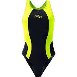 Stroje jednoczęściowe dziewczęce: Strój kąpielowy bonprix czarno-jaskrawy żółty