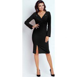 Czarna Wizytowa Dopasowana Sukienka z Guzikami przy Dekolcie. Brązowe sukienki koktajlowe marki Mohito, l, z kopertowym dekoltem, kopertowe. W wyprzedaży za 118,02 zł.