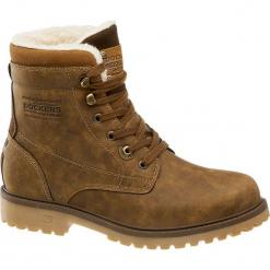Kozaki męskie Dockers brązowe. Brązowe buty zimowe męskie DOCKERS, z materiału, na sznurówki. Za 239,90 zł.
