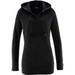 Swetry klasyczne damskie: Długi sweter z kapturem bonprix czarny