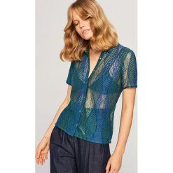 Koronkowa koszula - Granatowy. Niebieskie koszule damskie Reserved, l, z koronki. Za 89,99 zł.