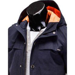 KURTKA MĘSKA PRZEJŚCIOWA PARKA C310 - GRANATOWA. Brązowe kurtki męskie przejściowe Ombre Clothing, m, z bawełny. Za 99,00 zł.