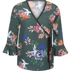 Bluzki damskie: Bluzka z założeniem kopertowym bonprix zielony w kwiaty