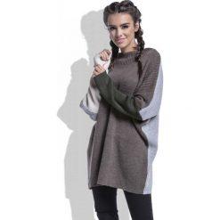 Swetry oversize damskie: Espresso Sweter Długi Luźny w Czterech Kolorach