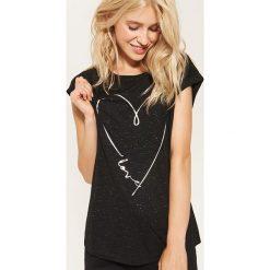 T-shirt z błyszczącym nadrukiem - Czarny. Szare t-shirty damskie marki House, l, z dzianiny. Za 29,99 zł.