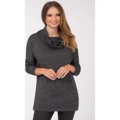 Swetry klasyczne damskie: Dłuższy sweter z lejącym kołnierzem