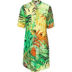 Bluzki damskie: Długa bluzka koszulowa bonprix zielono-żółty z nadrukiem