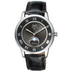 Zegarek Q&Q Męski z fazami księżyca  QZ10-308 Klasyczny czarny. Czarne zegarki męskie Q&Q. Za 172,00 zł.