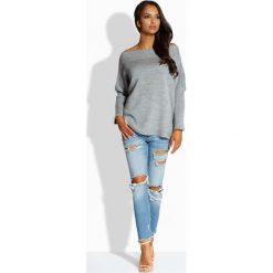 Swetry oversize damskie: Jasnoszary Sweter z Dekoltem w Łódkę