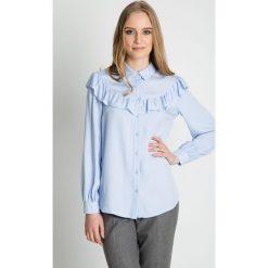 Błękitna koszula z ozdobną falbaną BIALCON. Czerwone koszule jeansowe damskie marki BIALCON, na co dzień, oversize. Za 265,00 zł.