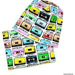 KOMPLET _ CZAPKA BEANIE + CHUSTKA w KASETY. Szare czapeczki niemowlęce Pakamera, w kolorowe wzory, z dresówki. Za 75,00 zł.