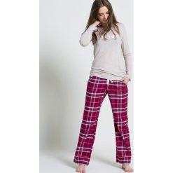 Dkny - Bluzka piżamowa. Szare bluzki longsleeves marki DKNY, l, z nadrukiem, z dzianiny. W wyprzedaży za 89,90 zł.