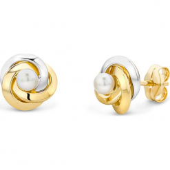 Złote kolczyki-wkrętki z perłami. Białe kolczyki damskie REVONI, z perłą, złote. W wyprzedaży za 560,95 zł.