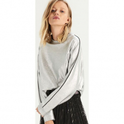 Srebrna bluza z lampasami - Srebrny. Szare bluzy rozpinane damskie Sinsay, l. Za 59,99 zł.