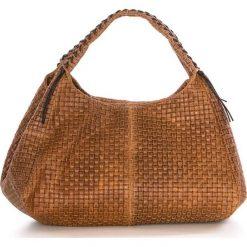 Torebki klasyczne damskie: Skórzana torebka w kolorze jasnobrązowym – 43 x 20 x 38 cm