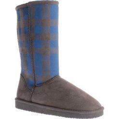 """Kozaki zimowe """"Melisa"""" w kolorze antracytowo-niebieskim. Czarne buty zimowe damskie marki Kazar, z futra, przed kolano, na wysokim obcasie, na koturnie. W wyprzedaży za 99,95 zł."""