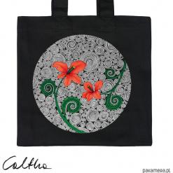 Czerwone kwiaty - torba premium. Czerwone shopper bag damskie Pakamera, w kwiaty, z materiału. Za 79,00 zł.