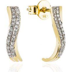 Kolczyki damskie: PROMOCJA Złote Kolczyki – złoto żółte 585, Diament 0,16ct