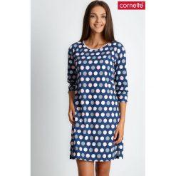Piżama koszula nocna w groszki QUIOSQUE. Czerwone piżamy damskie QUIOSQUE, na jesień, s, w geometryczne wzory, z bawełny, z długim rękawem. Za 89,99 zł.