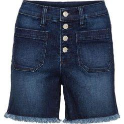 Szorty dżinsowe z wysoką talią bonprix ciemny denim. Niebieskie bermudy damskie bonprix, z denimu. Za 109,99 zł.