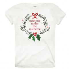 Christmas T-Shirt T-Shirt Damski Mistletoe S Biały. Białe t-shirty damskie Christmas T-Shirt, s. Za 45,00 zł.