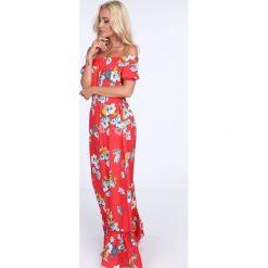 Sukienki: Sukienka maxi w kwiaty z paskiem czerwona ALZ3242