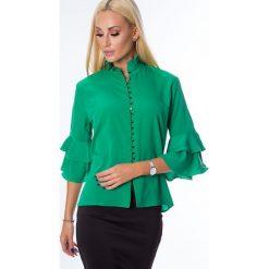 Koszula z falbanami przy rękawach zielona MP26021. Zielone koszule damskie marki Fasardi, m. Za 44,00 zł.