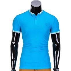 KOSZULKA MĘSKA POLO BEZ NADRUKU S843 - TURKUSOWA. Niebieskie koszulki polo Ombre Clothing, m, z nadrukiem. Za 29,00 zł.