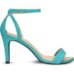 Sandały SAFA. Niebieskie sandały damskie Gino Rossi, z nubiku, na wysokim obcasie, na obcasie. Za 229,90 zł.