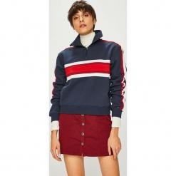 Tommy Jeans - Bluza. Różowe bluzy rozpinane damskie Tommy Jeans, m, z bawełny, z krótkim rękawem, krótkie, bez kaptura. Za 449,90 zł.