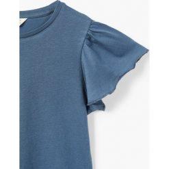 Mango Kids - Top dziecięcy Softbsc 104-164 cm. Szare bluzki dziewczęce Mango Kids, z bawełny, z okrągłym kołnierzem. W wyprzedaży za 15,90 zł.