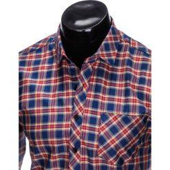 KOSZULA MĘSKA W KRATĘ Z DŁUGIM RĘKAWEM K418 - GRANATOWA/CZERWONA. Brązowe koszule męskie na spinki marki Ombre Clothing, m, z aplikacjami, z kontrastowym kołnierzykiem, z długim rękawem. Za 59,00 zł.
