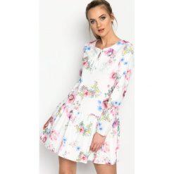 Biało-Różowa Sukienka Baylor. Białe sukienki hiszpanki Born2be, s, z elastanu, mini. Za 89,99 zł.