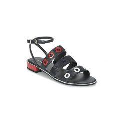 Sandały Tommy Hilfiger  TAMMI 3. Czarne sandały damskie marki TOMMY HILFIGER, z materiału, z okrągłym noskiem, na obcasie. Za 351,20 zł.