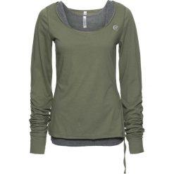 Shirt + top (2 części) bonprix oliwkowo-szary melanż. Niebieskie topy damskie marki DOMYOS, z elastanu, street, z okrągłym kołnierzem. Za 59,99 zł.